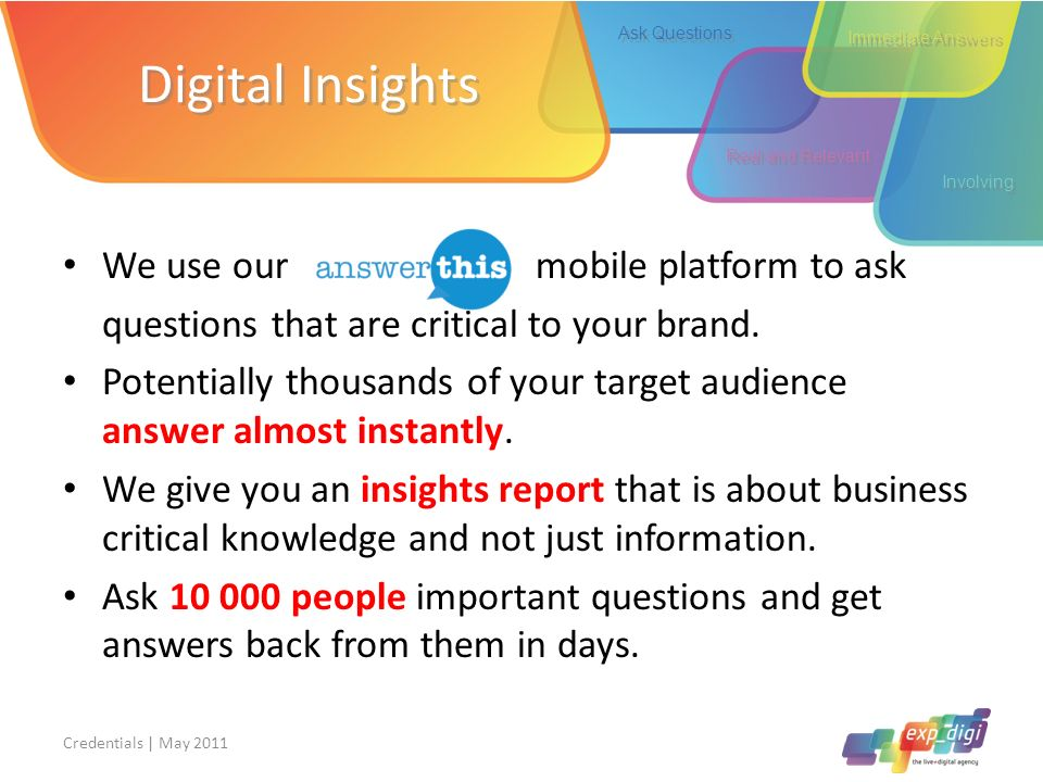 Digital Insights We use our mobile platform to ask