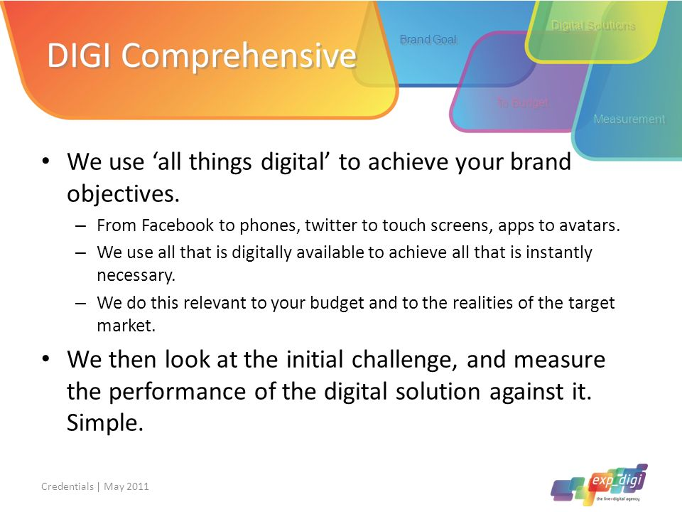 DIGI Comprehensive Digital Solutions. Brand Goal. To Budget. Measurement. We use 'all things digital' to achieve your brand objectives.