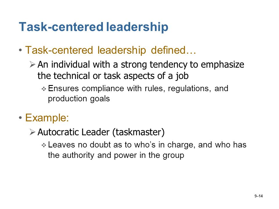 Task-centered leadership