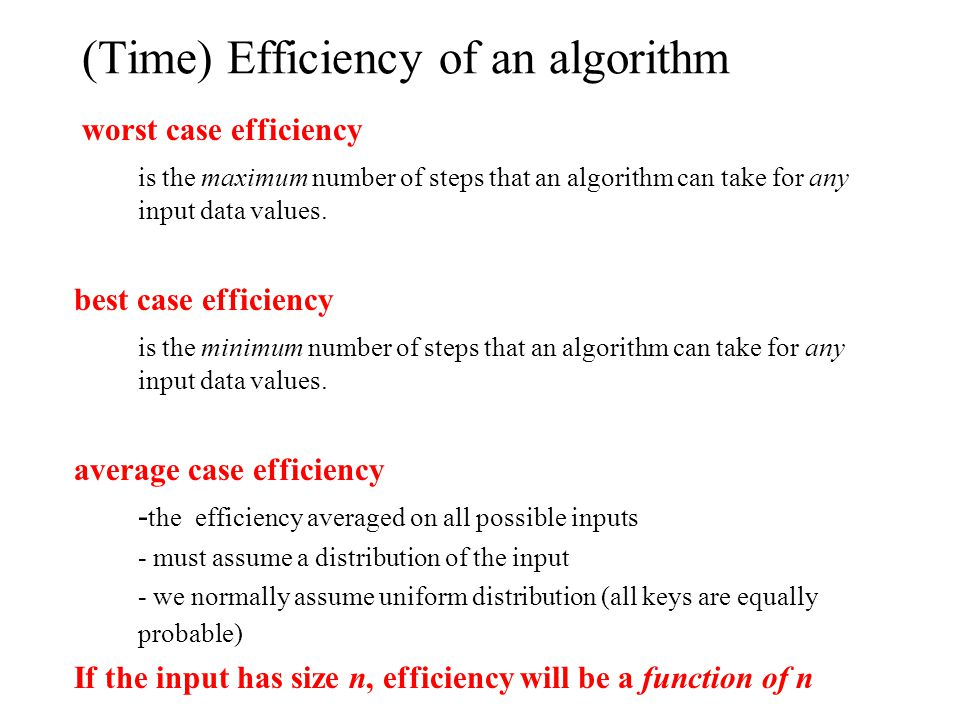 (Time) Efficiency of an algorithm