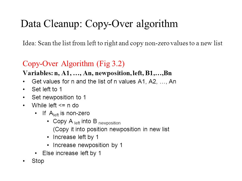 Data Cleanup: Copy-Over algorithm