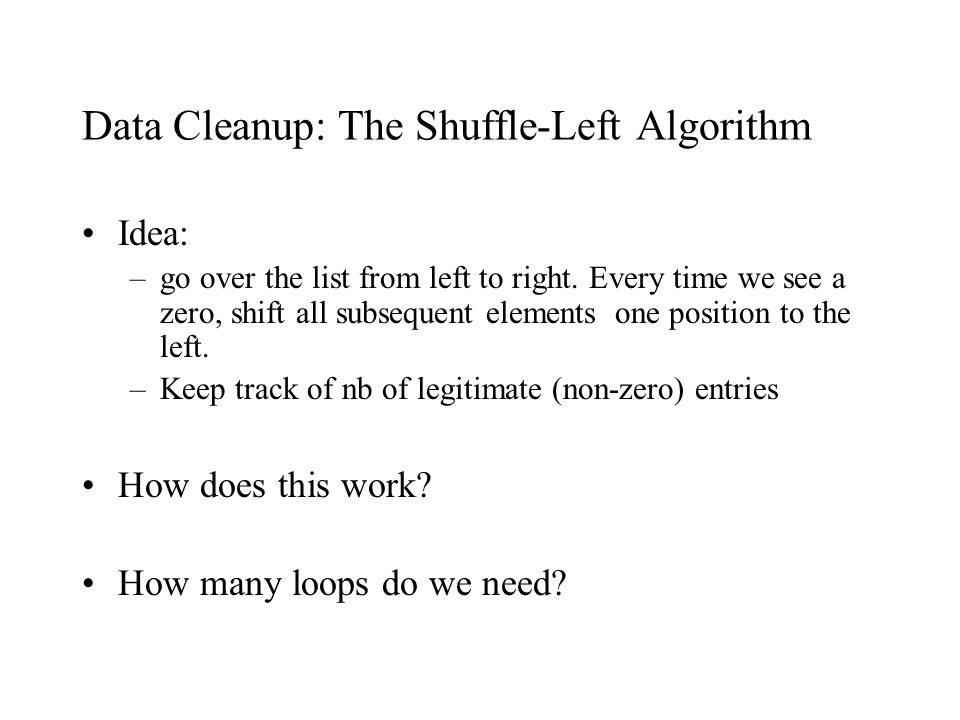 Data Cleanup: The Shuffle-Left Algorithm