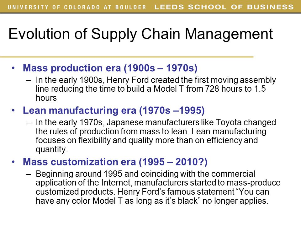 evolution of supply chain management Survey research in supply chain management has been and will continue to be  an important methodology in advancing theory and practice.