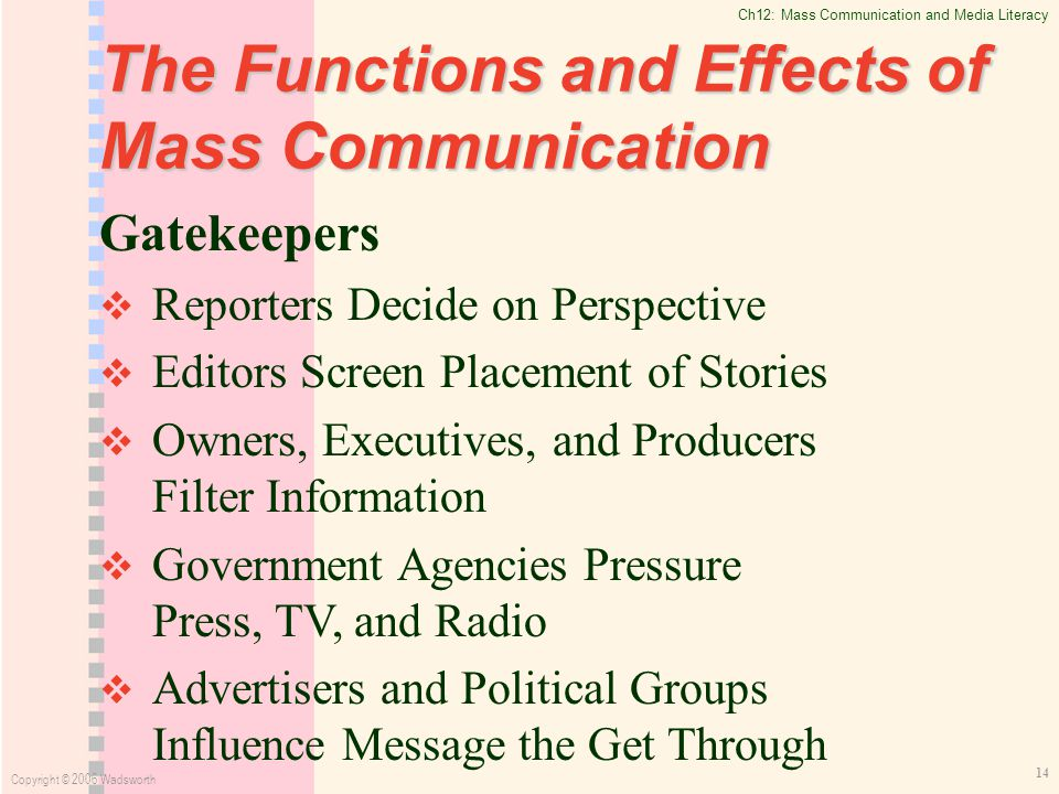effects of mass media communication Chapter 3: uses and effects of mass media chapter 2 focused on the various theories of communication and the effects that the tools of media have on the audiences.