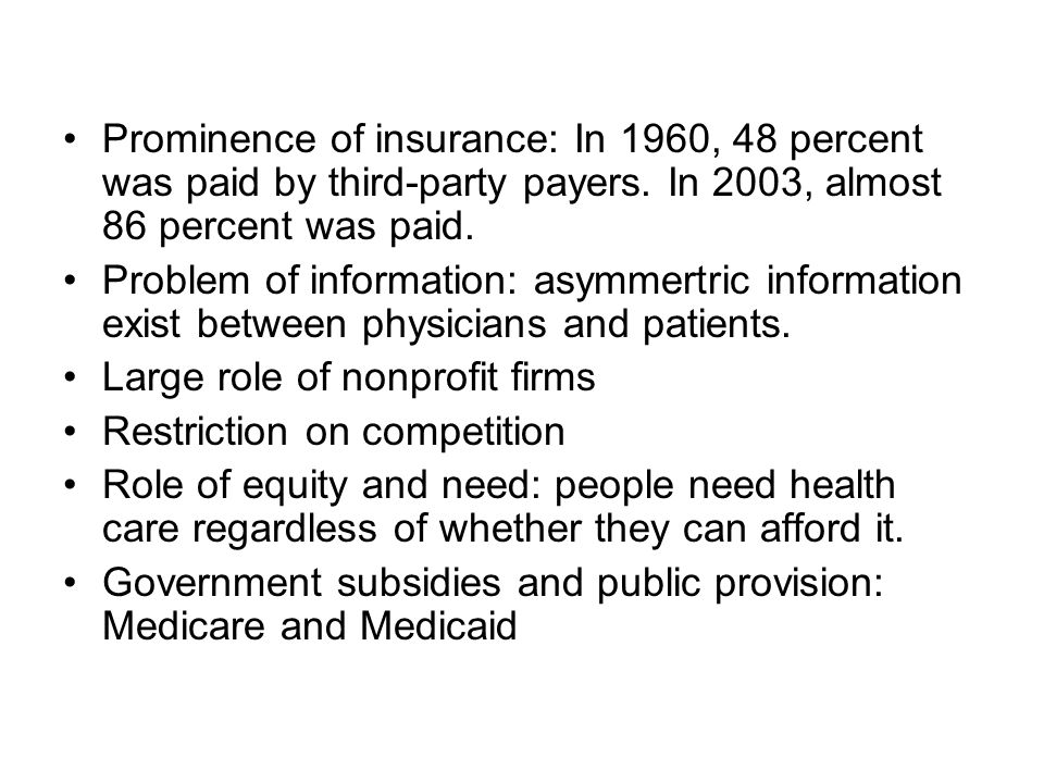 Prominence of insurance: In 1960, 48 percent was paid by third-party payers. In 2003, almost 86 percent was paid.