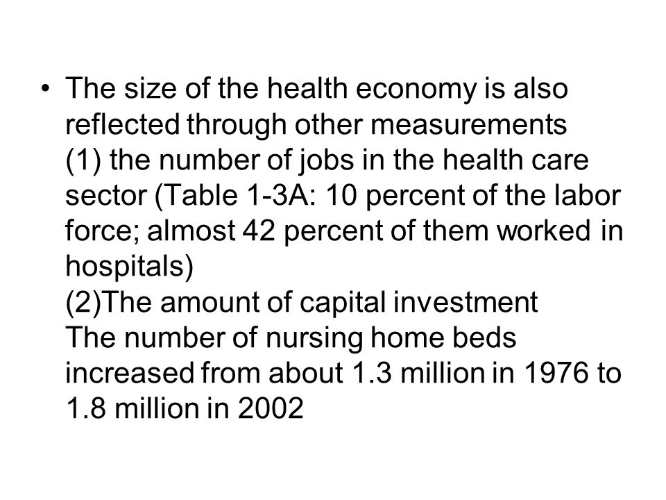 The size of the health economy is also reflected through other measurements (1) the number of jobs in the health care sector (Table 1-3A: 10 percent of the labor force; almost 42 percent of them worked in hospitals) (2)The amount of capital investment The number of nursing home beds increased from about 1.3 million in 1976 to 1.8 million in 2002
