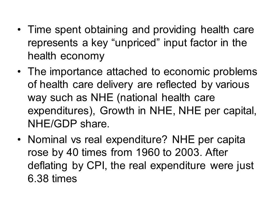 Time spent obtaining and providing health care represents a key unpriced input factor in the health economy