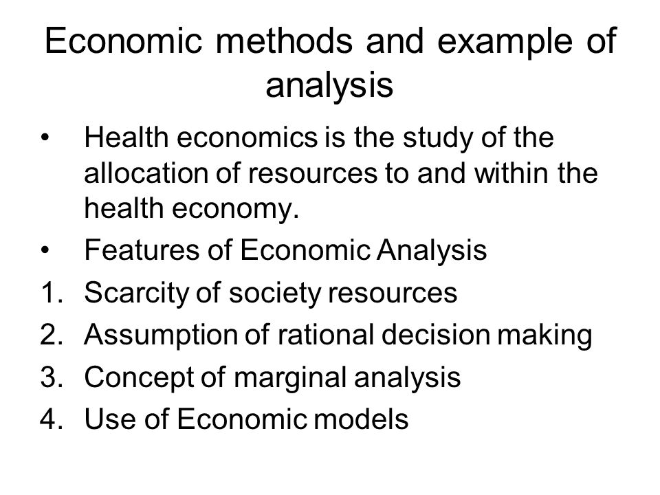 Economic methods and example of analysis