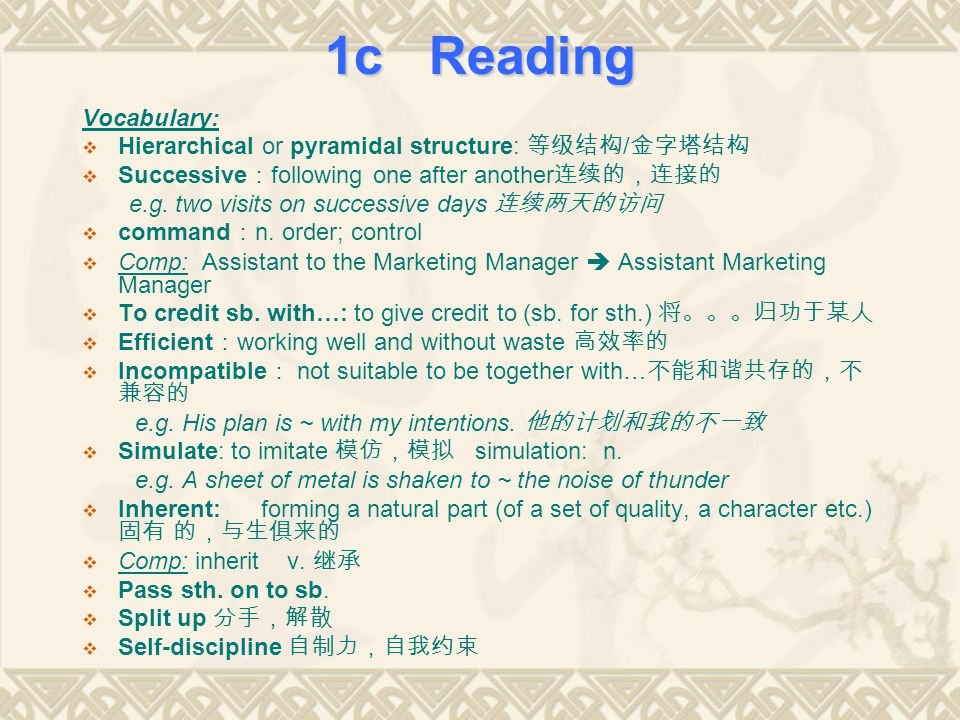 1c Reading Vocabulary: Hierarchical or pyramidal structure: 等级结构/金字塔结构
