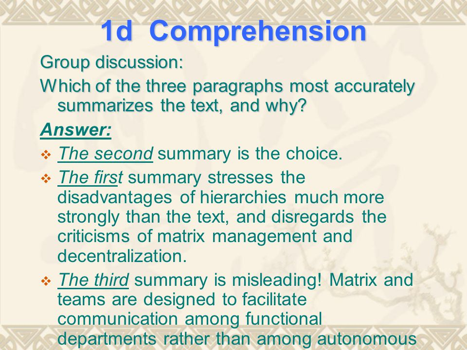 1d Comprehension Group discussion: