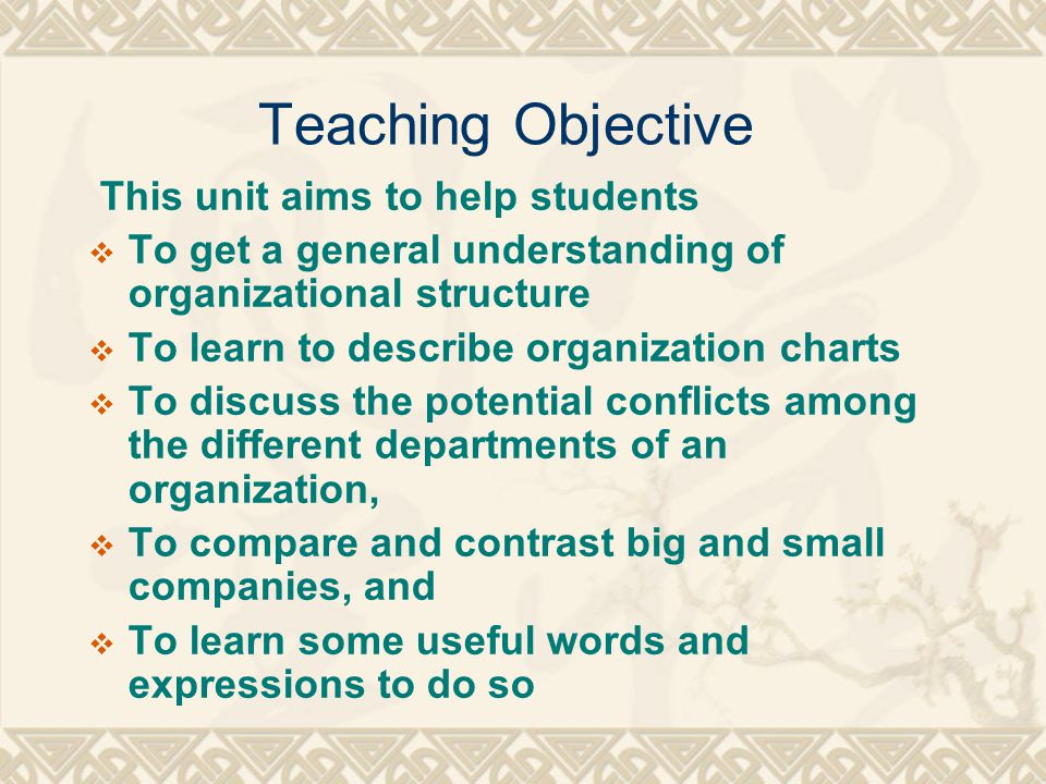 Teaching Objective This unit aims to help students
