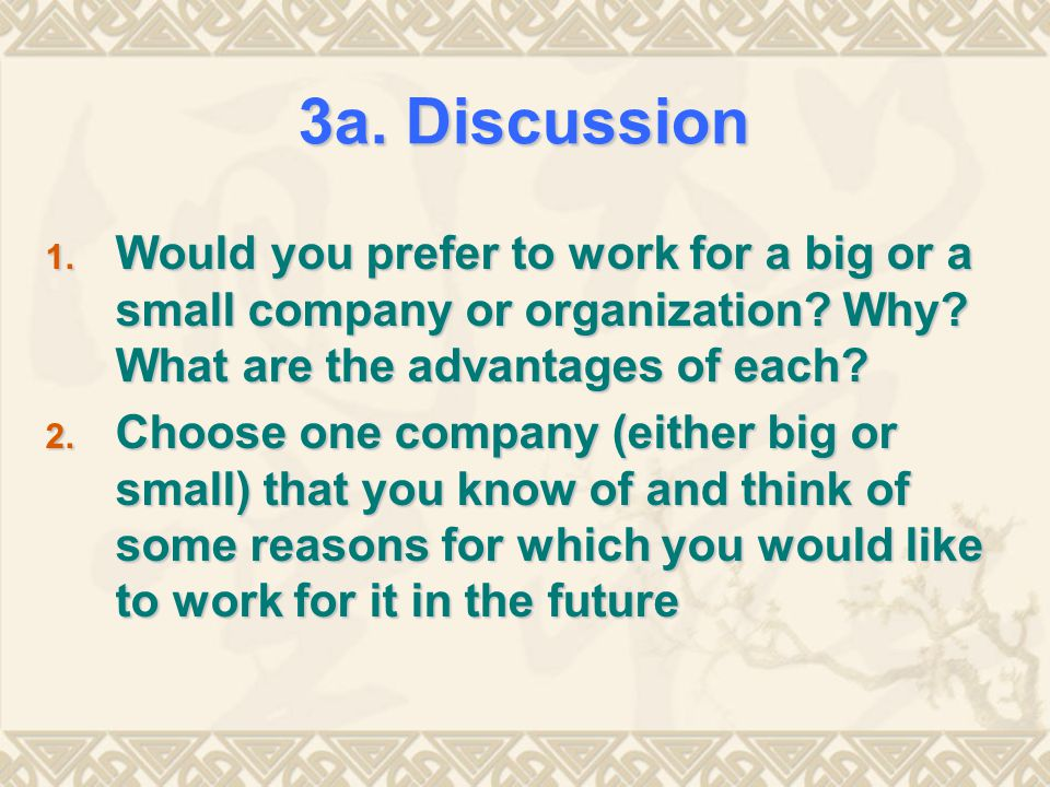 3a. Discussion Would you prefer to work for a big or a small company or organization Why What are the advantages of each