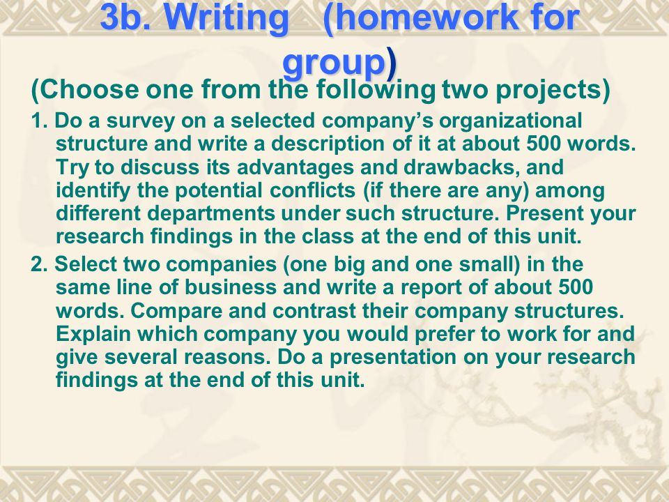 3b. Writing (homework for group)