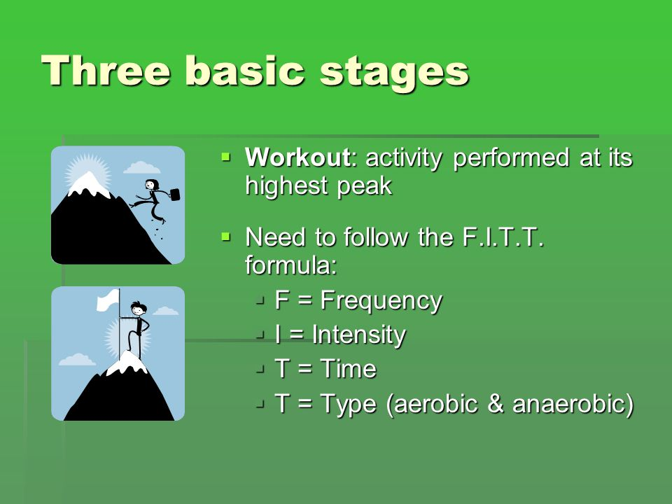 Three basic stages Workout: activity performed at its highest peak