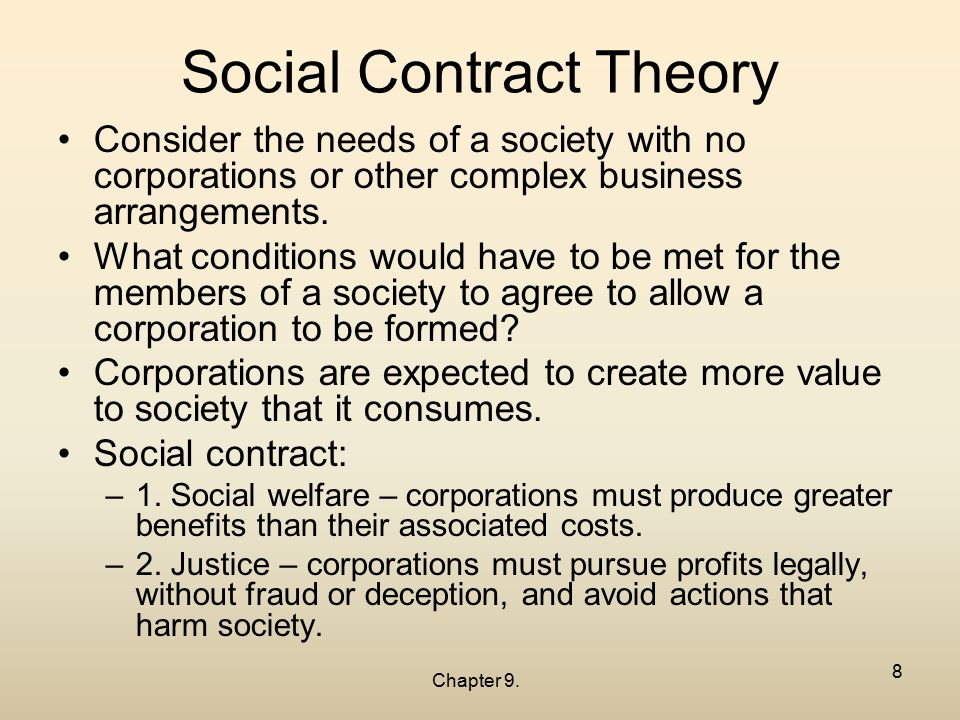 social contract theroy Barbara dillbeck definition a social contract is a voluntary agreement in which mutual benefit occurs between and for individuals, groups, government or a.