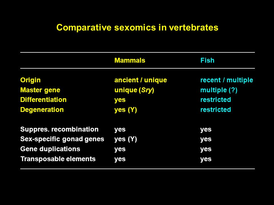 Comparative sexomics in vertebrates