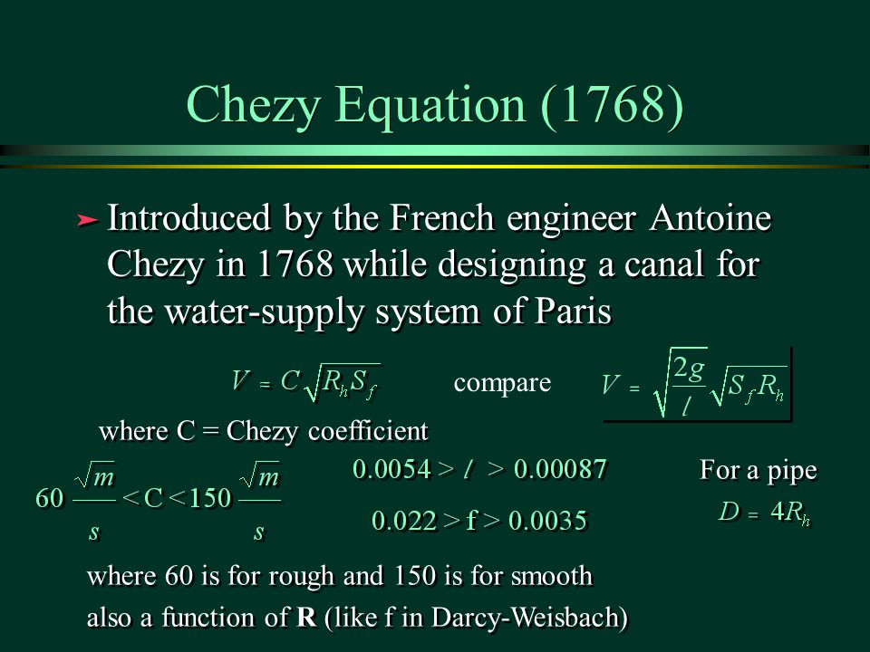 darcy weisbach equation derivation pdf