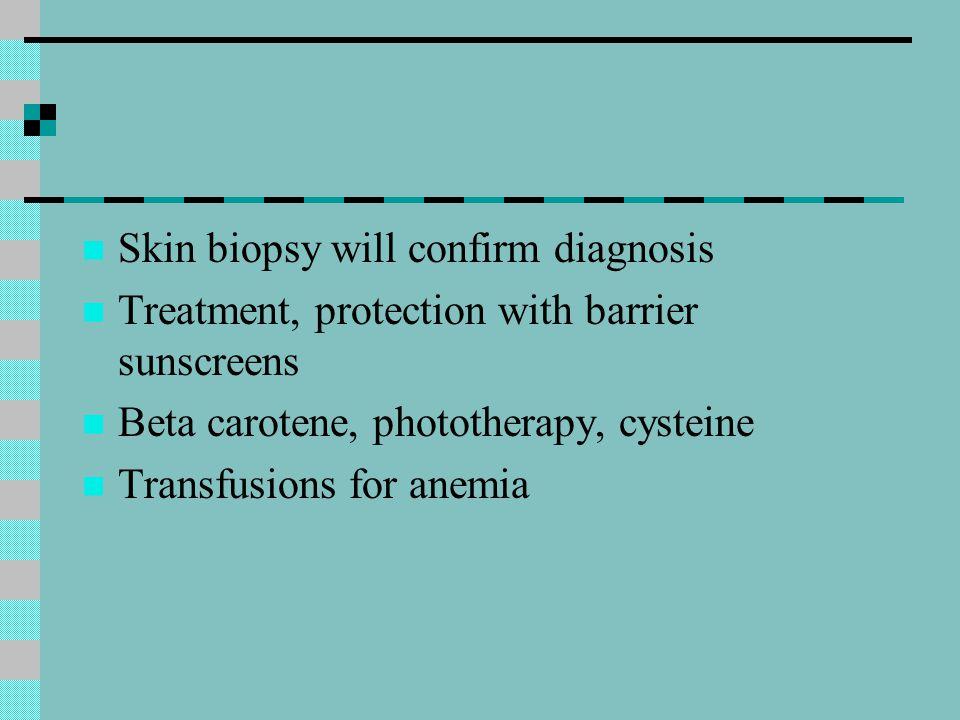 Skin biopsy will confirm diagnosis
