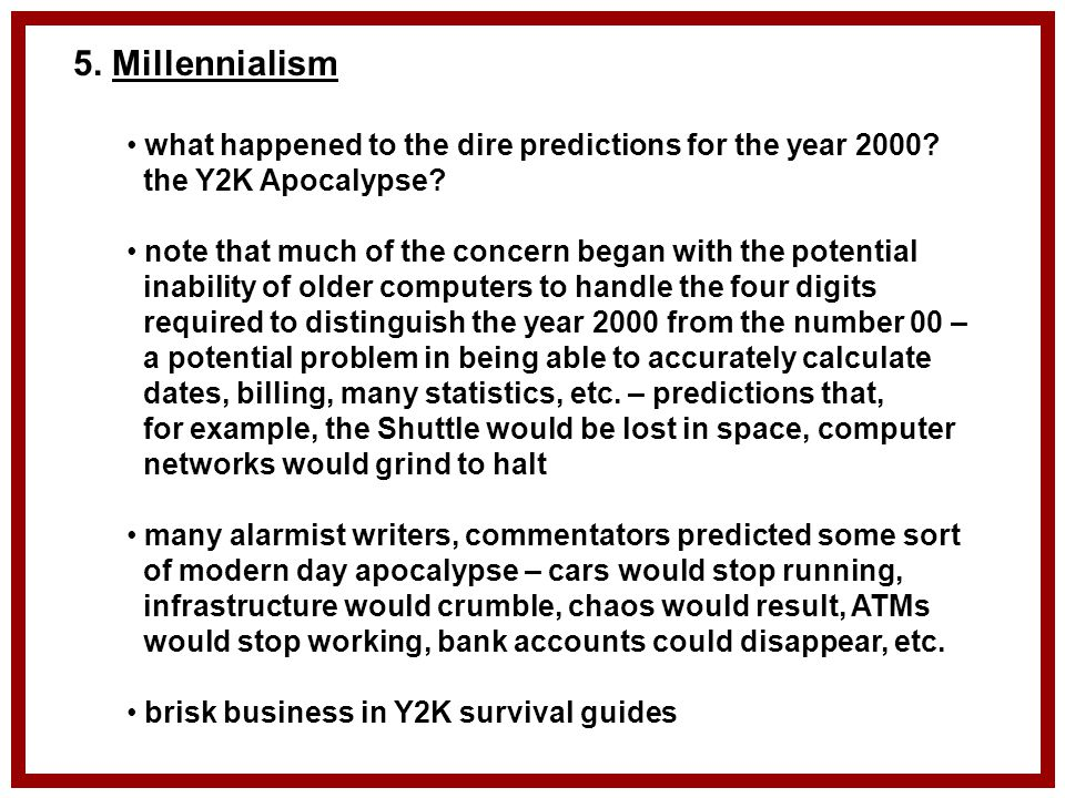 the possible effect of the y2k bug Now that the y2k computer bug has failed to bring the modern world to the   y2k's effects, so far, have taken all of the specialists by surprise,.