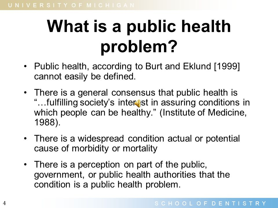 What is a public health problem