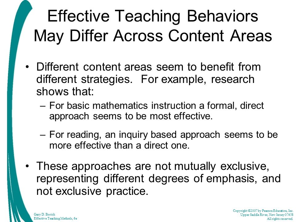 Effective Teaching Behaviors May Differ Across Content Areas