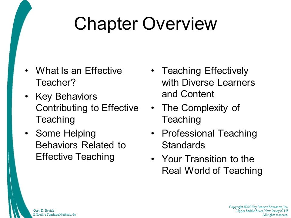 Chapter Overview What Is an Effective Teacher