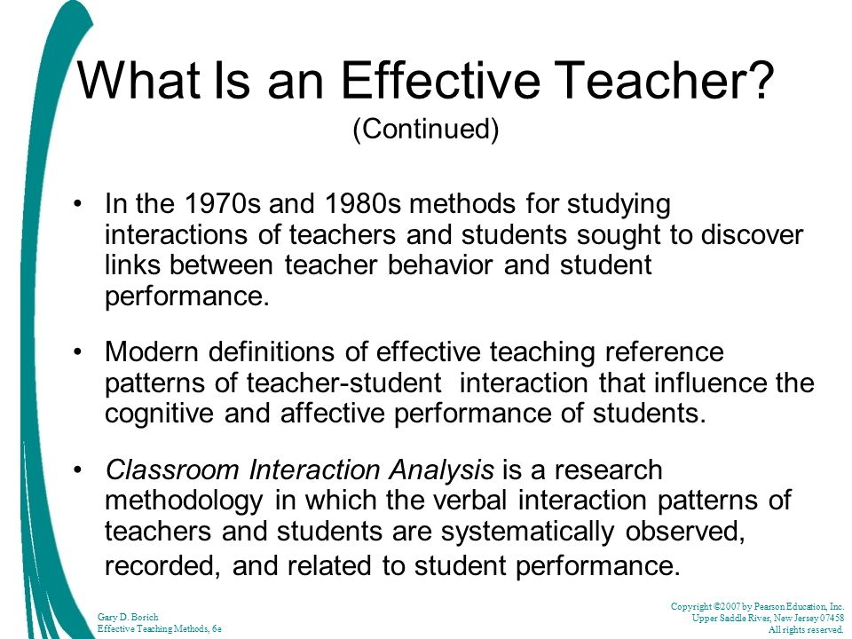 What Is an Effective Teacher (Continued)