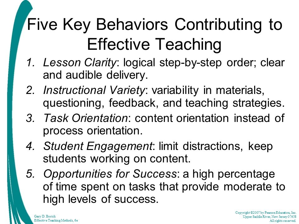 Five Key Behaviors Contributing to Effective Teaching