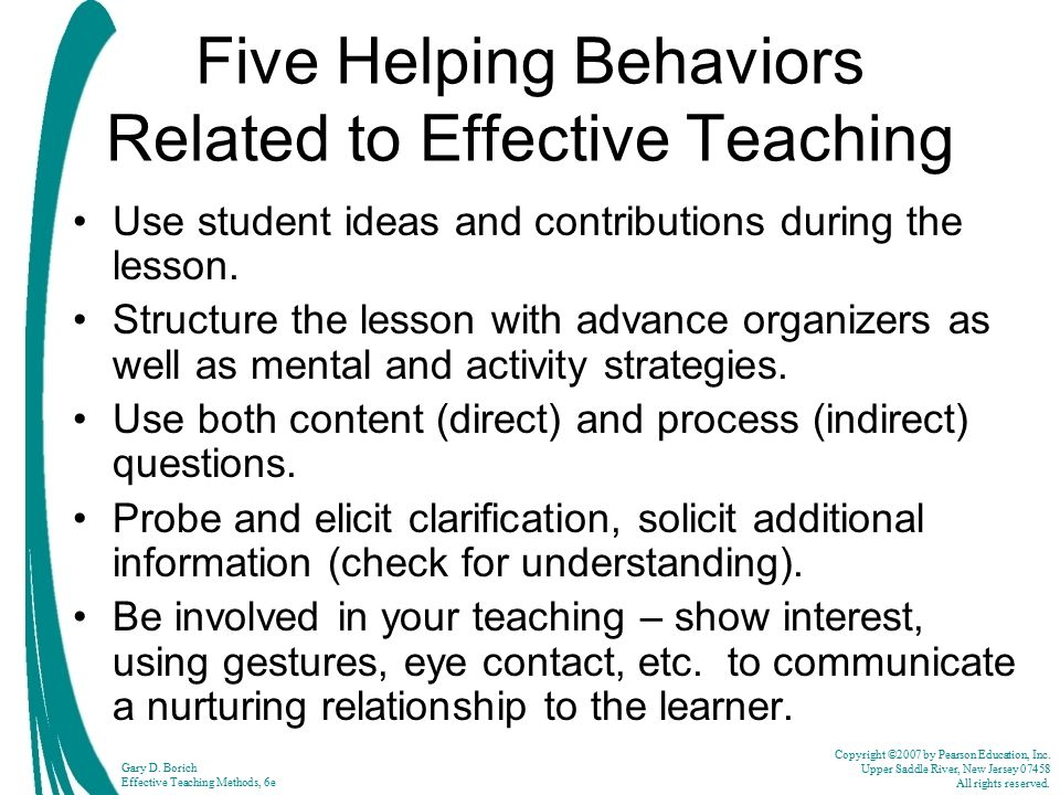 Five Helping Behaviors Related to Effective Teaching