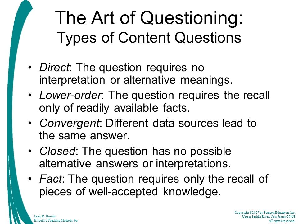 The Art of Questioning: Types of Content Questions