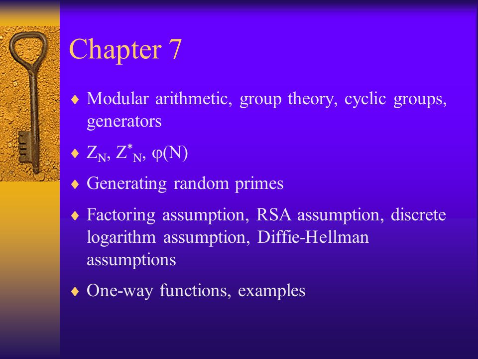 Chapter 7 Modular arithmetic, group theory, cyclic groups, generators