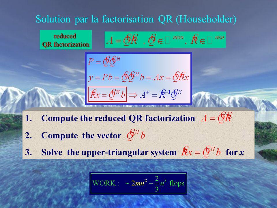 Solution par la factorisation QR (Householder)