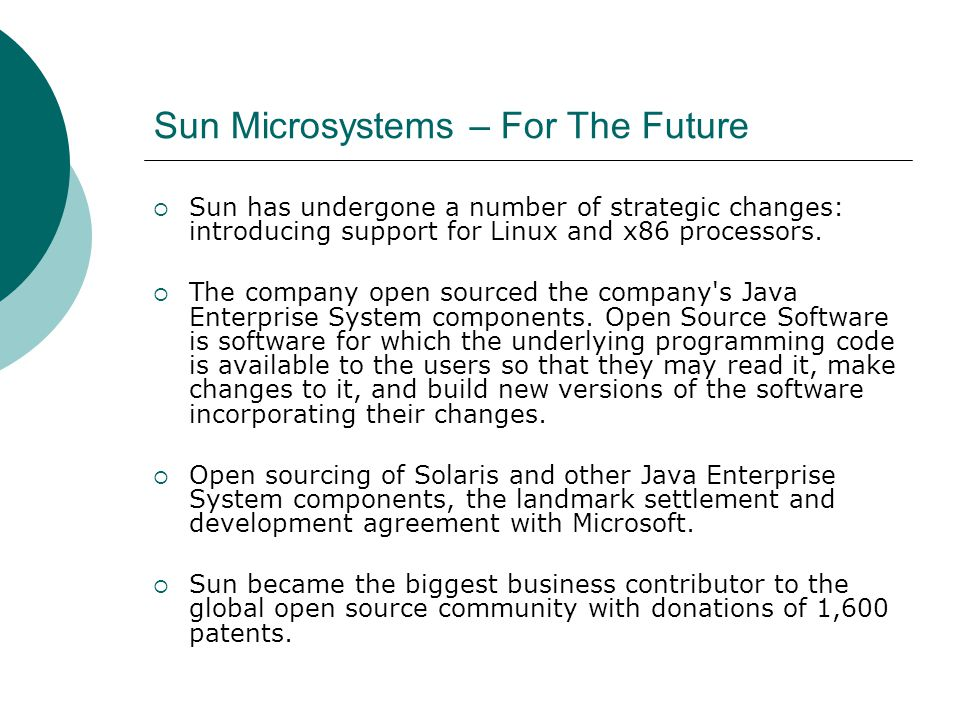 sun microsystems corporate strategy essay Making sense of corporate venture capital henry promote the adoption of the microsoft standard over rival approaches from sun microsystems and a good example of an emergent investment strategy—in which a company invests in external startups that are closely linked to its operating.