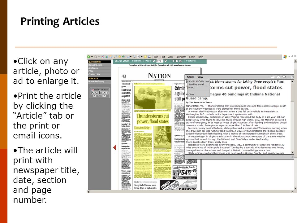 Printing Articles Click on any article, photo or ad to enlarge it.