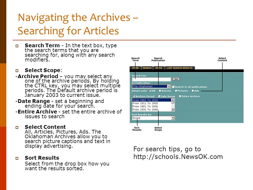 Navigating the Archives – Searching for Articles