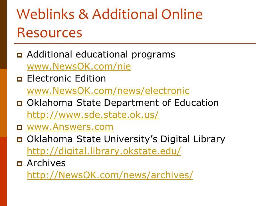 Weblinks & Additional Online Resources