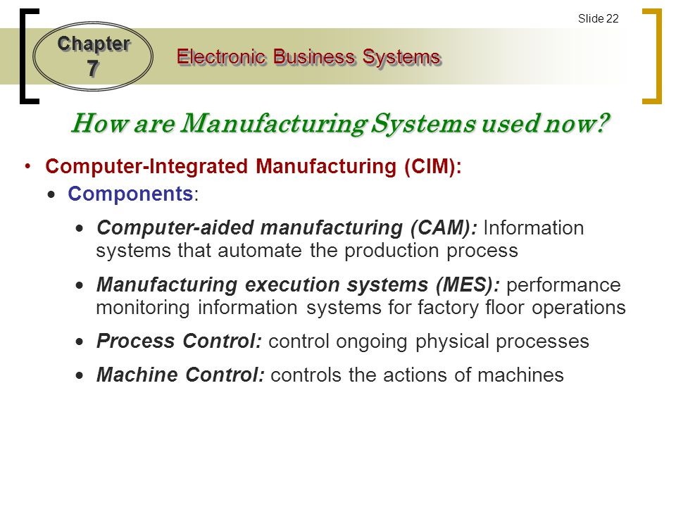 How are Manufacturing Systems used now