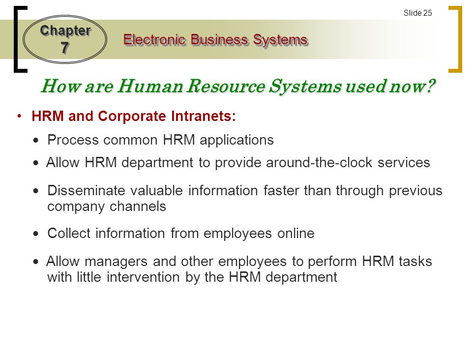 How are Human Resource Systems used now