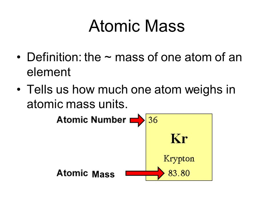 Atomic Mass Definition: the ~ mass of one atom of an element