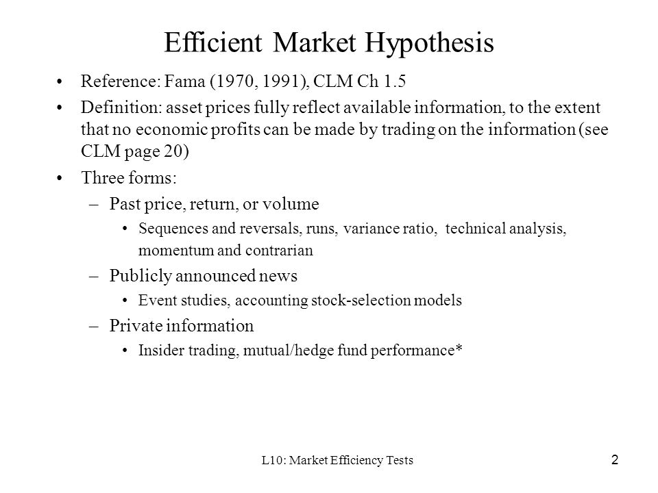 testing efficient market hypothesis An algorithm for testing the efficient market hypothesis an algorithm for testing the efficient section 2 presents the database used for testing the.