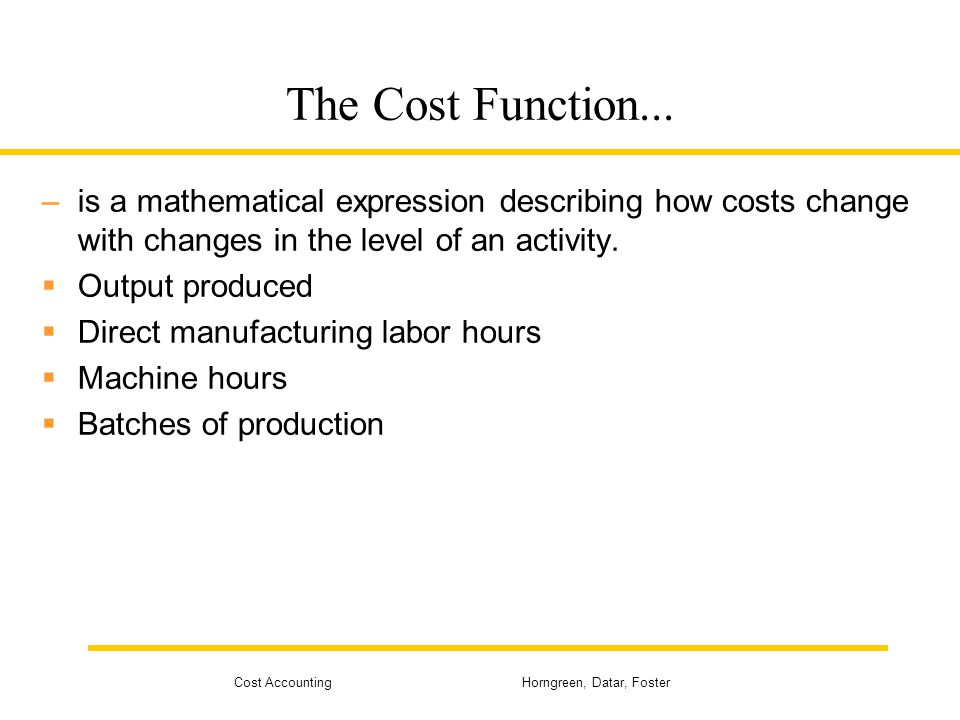 cost accounting terminologies purpose of cost What is cost accounting cost accounting involves the techniques for: determining the costs of products, processes, projects, etc in order to report the correct amounts on the financial statements , and.