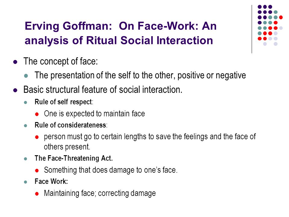 interaction ritual by erving goffman essay Examine the view that erving goffman's work focuses on forms of social interaction but ignores social structure   goffman, erving 1967 interaction ritual .