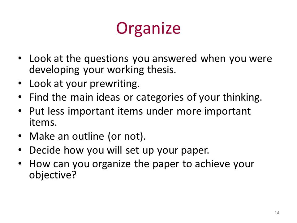 developing working thesis The focus and perspective of your review and the kind of hypothesis or thesis  it  concludes with a purpose or thesis statement  develop a working thesis.