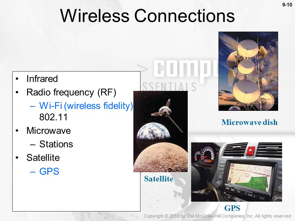 Wireless Connections Infrared Radio frequency (RF)