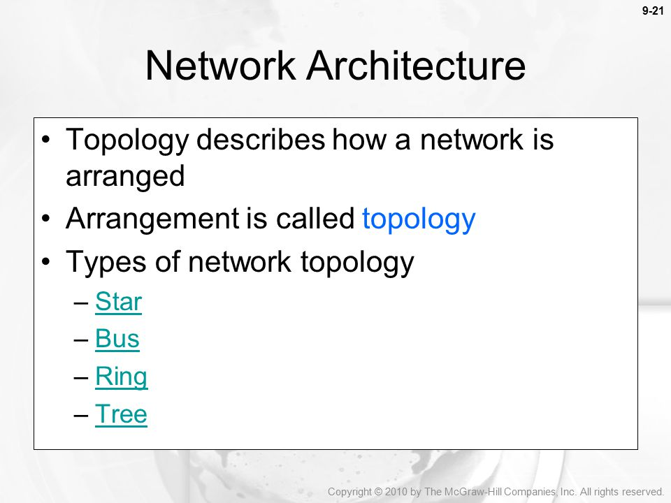 Network Architecture Topology describes how a network is arranged