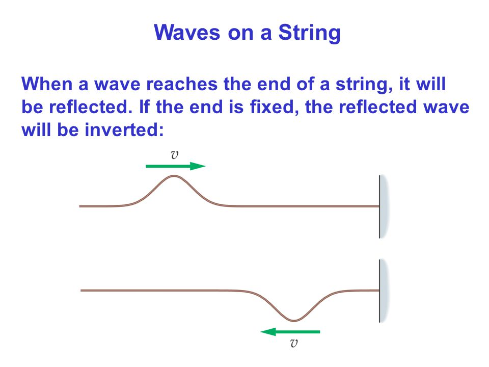 Waves on a String When a wave reaches the end of a string, it will be reflected.