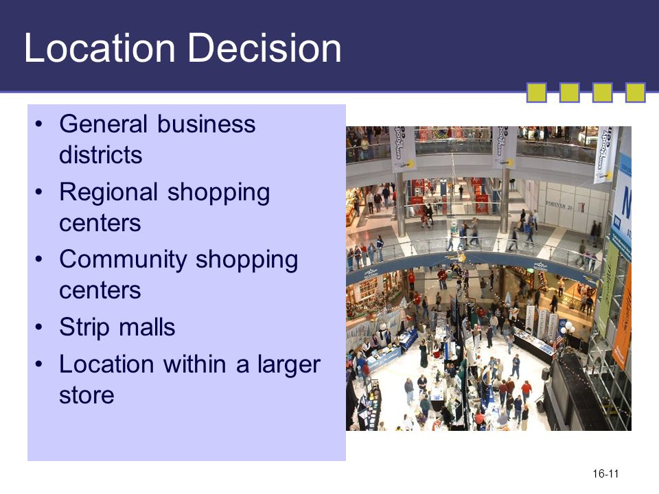 Location Decision General business districts Regional shopping centers