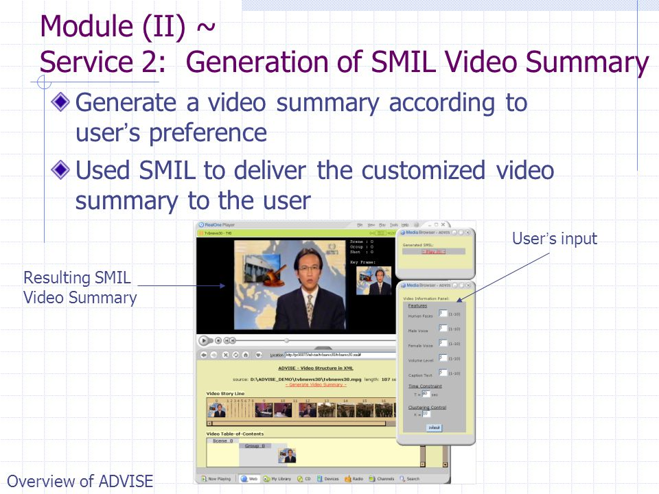 Module (II) ~ Service 2: Generation of SMIL Video Summary