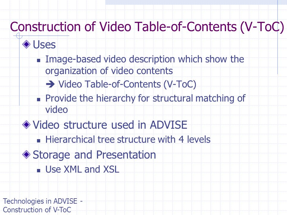 Construction of Video Table-of-Contents (V-ToC)