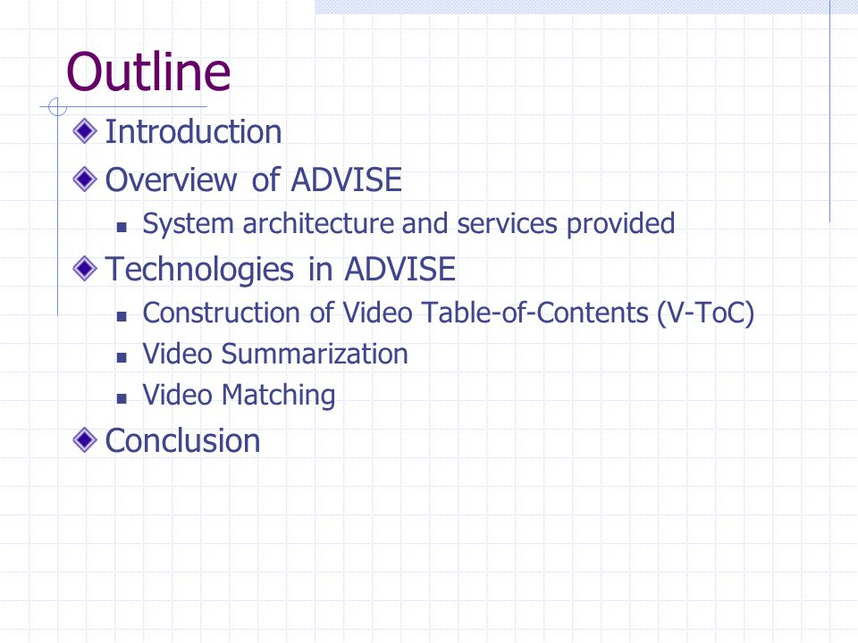 Outline Introduction Overview of ADVISE Technologies in ADVISE